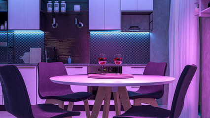 Modern Kitchen with colored lights