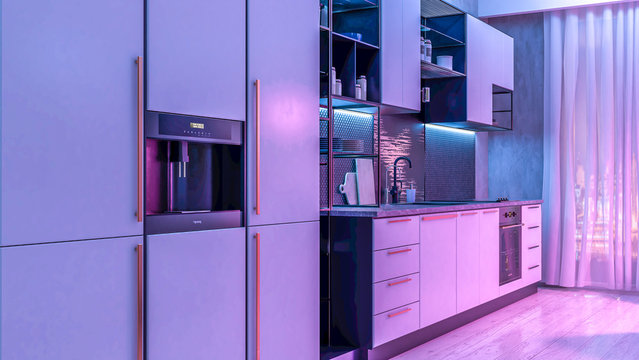 Modern Kitchen interior with light strip