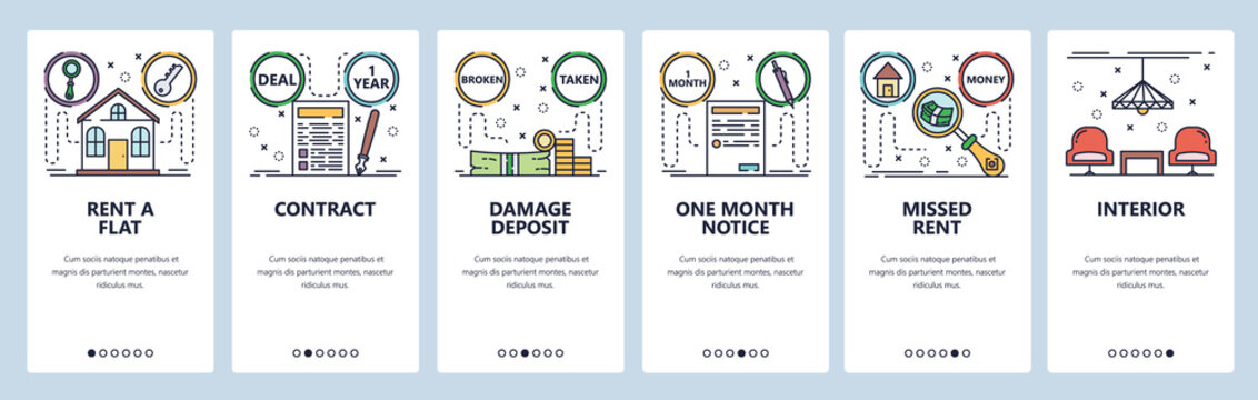 Mobile app onboarding screens. Rent a house contract, month notice, damage deposit, payment. Menu vector banner template for website and mobile development. Web site design flat illustration