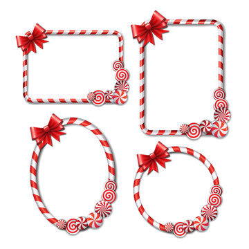 Set of Frames made of candy cane, with red and white candies and red bow