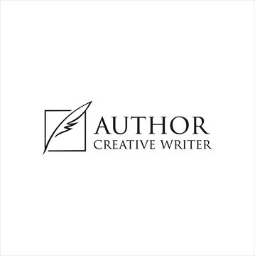 Author Write Logo Templates Design Vector Stock . vintage pen feather writer symbol, literature icon, diary sign, black illustration, writer logo templated
