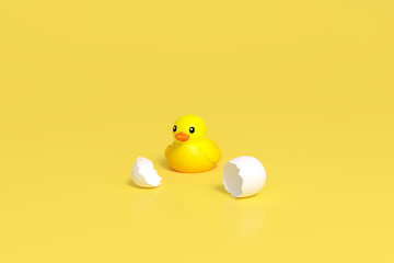 Yellow little duck doll, yellow rubber duck doll, duck bath toy, baby toy on yellow background 3d rendering. Duckling toy hatch from egg 3d illustration minimal style concept.