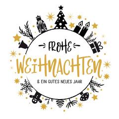 Frohe Weihnachten und ein gutes neues Jahr Kalligraphie - runde Form. Grußkarte mit Weihnachtsbaum, Geschenken, Sternen und Kerzen