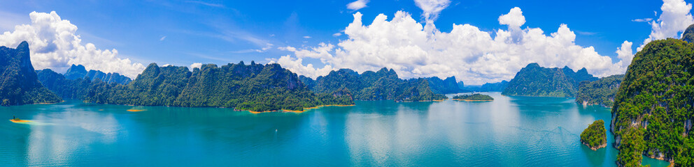 Panorama view of mountain and blue sky with cloud in Khao Sok National park locate in Ratchaprapha dam in Surat Thani province, Thailand.