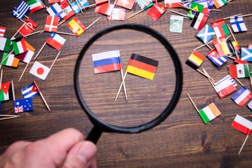 Russian and German flags. Politics, economics, imports and exports concept