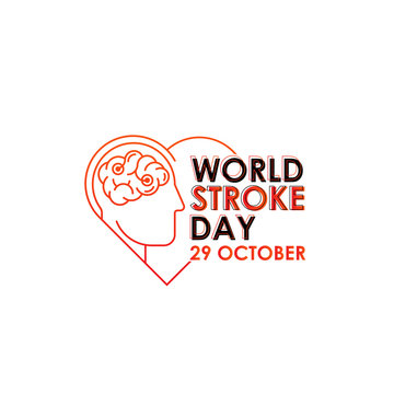 World Stroke Day - Vector logo poster illustration of World Stroke Day on October 29th. Health care awareness campaign.