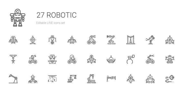 robotic icons set
