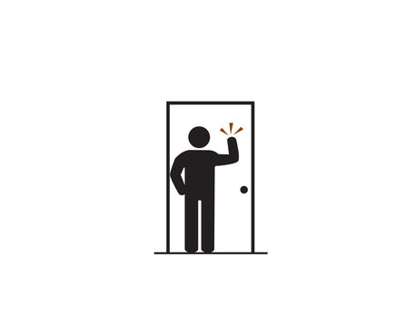 Please knock the door before entering, Accident Prevention signs, beware and careful rhombus Sign, warning symbol, vector illustration.