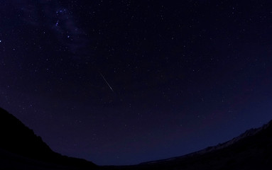 Meteors of the Orionid Meteor Shower streak through the night sky above the San Rafael Swell