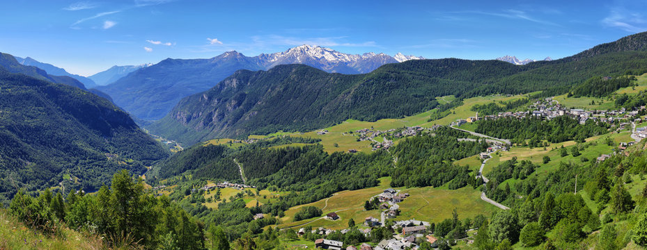 Landscape of Torgnon town in Aosta valley, Italy