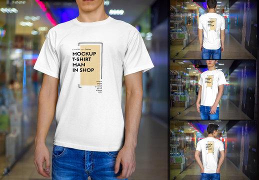 Men's T-Shirt Mockup Set with Blurred Background