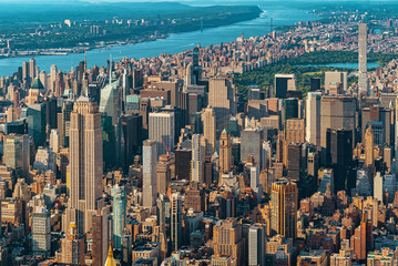 Aerial view of the skyscrapers of in Manhattan, New York City