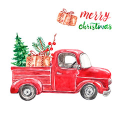 Christmas retro abstract car with fir tree, goft box, greenery branches, isolated on white background. Hand painted watercolor red pick up car for winter holiday cards design.