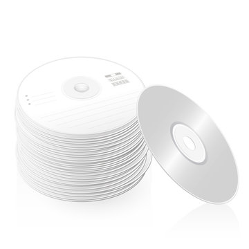 Pile of CDs, compact disc tower, many DVDs, heap of digital versatile discs - symbolic for large bulk and mass of data and information - isolated vector illustration on white background.