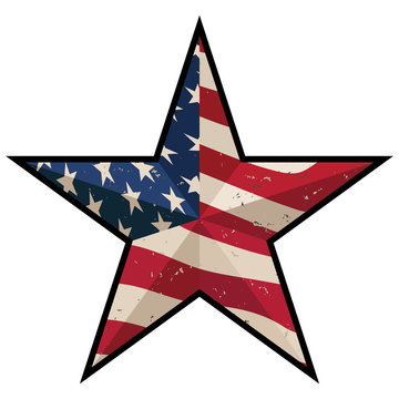 American Patriotic Barn Star with Antique Stars and Stripes Isolated Vector Illustration