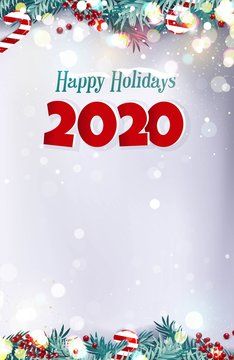 Happy holidays 2020 Christmas snowy background with fir branches, berries, xmas lights and candies. Vector winter illustration
