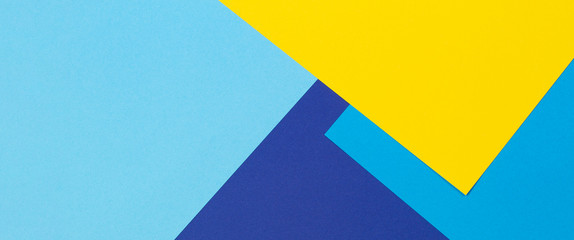 Abstract blue and yellow color paper geometry composition background