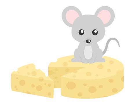 ねずみとチーズのイラスト