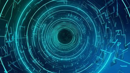 Computer digital tube with matrix machine symbols, fly through future corridor