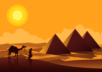 Pyramid famous landmark of Egypt,silhouette style,vector illustration