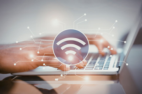 Illustration of wifi icon with electronic connections