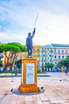 The stature to De Blas De Lezo in Cadiz, Spain