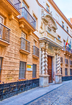 The curved edifice with magnificent porch, Cadiz, Spain