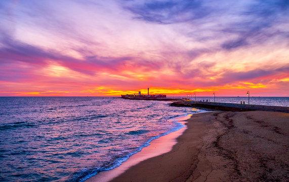 The sunset over Atlantic ocean in Cadiz, Spain