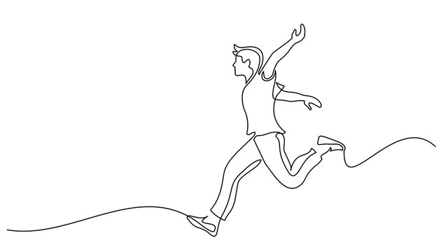 Happy running man. Continuous one line drawing
