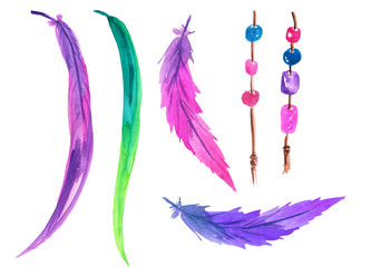 A set of multi-colored feathers and brown ropes with pink and blue beads for making a dream catcher. Watercolor illustration for prints, cards, design and magazines.