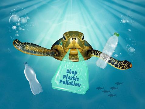 illustration of plastic pollution in the sea