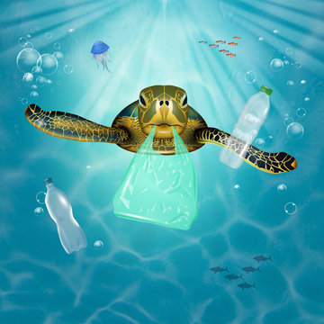 illustration of sea turtle swimming in plastic