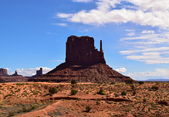 Characteristic sandstone butte in Monument Valley