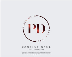 Initial letter PD beauty handwriting logo vector