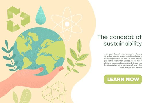 Slide or landing page layout with illustration of the concept of sustainability or environmental protection. Vector illustration