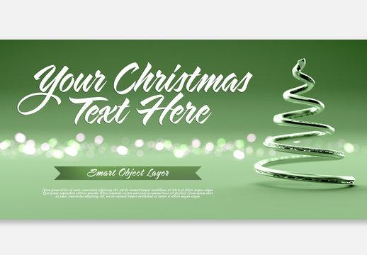 Green Christmas Scene with Text Mockup
