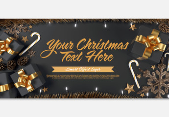 Black and Gold Christmas Scene with Text Mockup