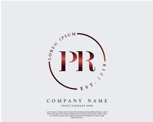 Initial letter PR beauty handwriting logo vector