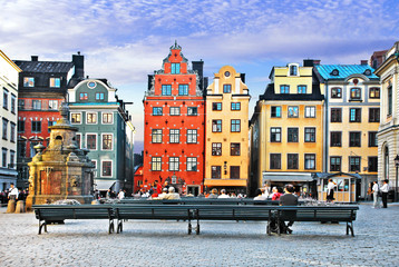 Foto auf AluDibond Stockholm Old town of Stockholm - popular touristic attraction. Sweden
