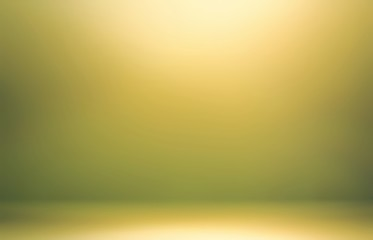Yellow shine in green room abstract 3d. Nature tints background.