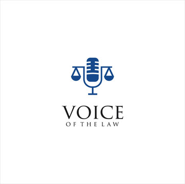Law Podcast Logo Design Vector Stock . Voice of Law Logo . microphone law logo.
