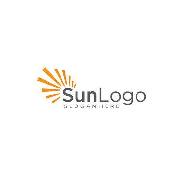 Sun Logo Element Vector Icon . Creative Abstract Shape Orange Color sun Logo . Sunset Logo . Sunrise Logo