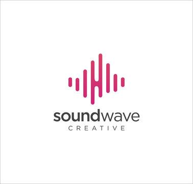 Sound wave logo with flat design Vector Stock . Speaker Wave Logo Design Template