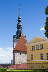 Clock tower and facades of buildings in Tallinn