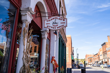 Stillwater, Minnesota - October 14, 2019: Sign for Tremblays Sweet Shop, a candy store in downtown historic Stillwater, just outside the Twin Cities Metro area