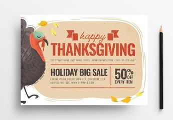 Thanksgiving Flyer Layout with Turkey Illustration