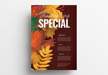 Thanksgiving Poster Layout with Fall Leaves
