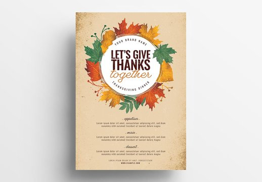 Thanksgiving Dinner Poster Layout with Illustrated Leaves