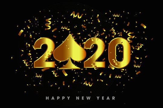 Luxury, Happy New Year 2020 with the casino element concept over black background