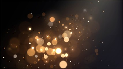 Vector background with golden bokeh dust, blur effect, sparks